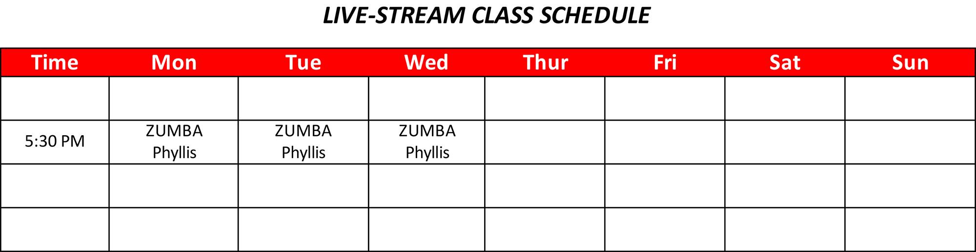 Live-Stream Class Schedule